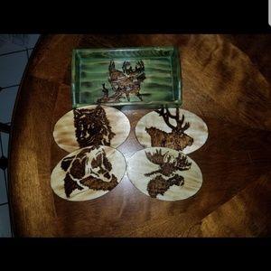 Woodburned coaster set